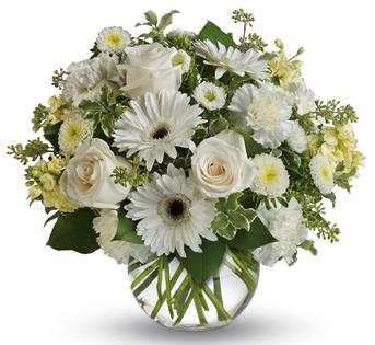 Called: Isle of White. Description: Wondrous white roses, gerberas and carnations in a vase bring a breath of fresh air to your special someone.