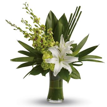Called: Splendour. Description: The graceful beauty of white lilies and opulent orchids is highlighted with an artistic, emerald-green backdrop of tropical leaves presented in a leaf lined vase.