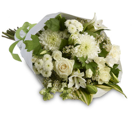 Called: Marlee. Description: A simply stylish bouquet of all white flowers representing purity and innocence beautifully accented with seasonal green foliage