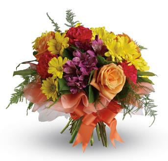 Called: Precious Moments. Description: Send a gift of precious moments - a perfectly pretty bouquet of daisies, roses, carnations and alstroemeria,hand-tied with a lovely bow.