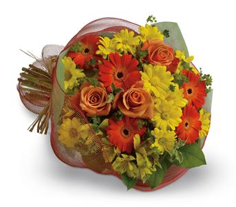 Called: Thanks a Million. Description: Say thank you with a cheerful bouquet of bright orange gerberas and roses paired with alstroemeria and daisies in shades of yellow.