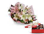 Lovely Lilies with a box of Chocolates