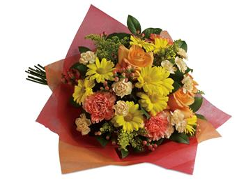 Called: Playful Posies. Description: Tickle their fancy with this playful mix of yellow daisies,pink carnations and peach roses.