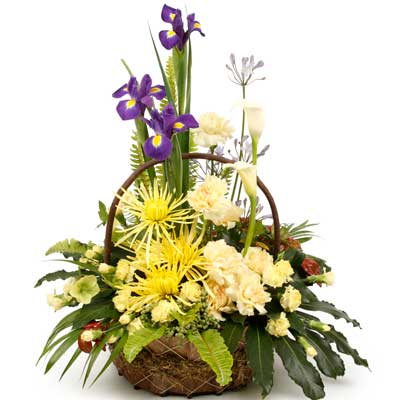 Called: Baritone. Description: This vibrant basket arrangement is bursting with variety.