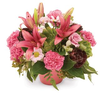 Called: Perfect Posy. Description: Modern arrangement of lilies, chrysanthemums and carnations add a touch of something different.