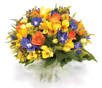 Called: Sweet Treasure. Description: Brighten someones day with this colourful posy-style bouquet of freesias, solidaster, alstroemeria and roses.