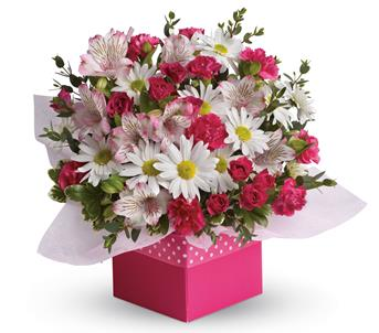 Called: Polka Dot. Description: Polka dots and posies, they are the perfect pair. Well, at least in this pretty arrangement they are.