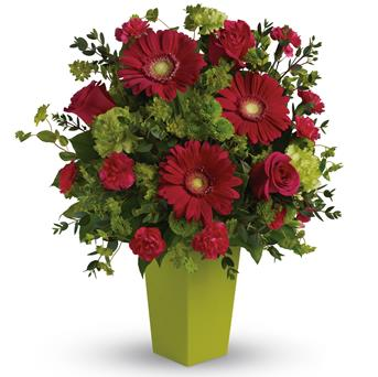 Called: Ravishing Pink. Description: A gorgeously chic gift for any occasion, this perky hot pink and green arrangement is pure fun. So much beauty for such a reasonable price, it is the perfect choice for birthday, love and romance, any happy occasion.