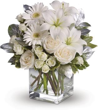 Called: Shining Star. Description: You couldn not wish for a prettier or more dazzling arrangement of wonderful white blossoms. Striking ivory roses, white spray roses, gerberas, asiatic lilies, salal and pittosporum are lovingly arranged in a sparkling clear glass cube.