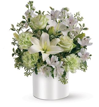 Called: Sea Spray. Description: As refreshing as a sea breeze, this fabulously fresh arrangement of white and green flowers, makes a very cool gift. Sweetly subtle, yet also exciting, it is a visual delight.