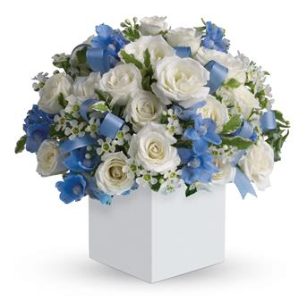 Called: Celebrating Baby Boy. Description: Celebrate the coolest baby boys arrival with this charming box arrangement that arrives chock full of pretty flowers. Perfect for baby showers too!