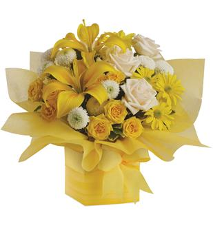 Called: Sweet Sunshine. Description: As refreshing as lemon sherbet, this sunny array of flowers in a yellow gift box tied with a matching ribbon makes a perfect gift for someone with taste. They will certainly admire yours.