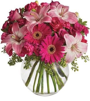 Called: Pink Me Up. Description: Youthful. Graceful. Beautiful. Whether you want this gorgeous pink vase arrangement to say Happy Anniversary or Happy Any Day, you can be sure the day it arrives will be brighter for anyone lucky enough to receive it.