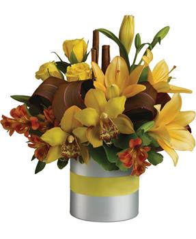 Called: Perfection. Description: This glorious arrangement of yellow and orange flowers, is a floral creation that is done to perfection.