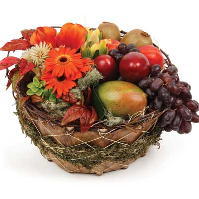Called: Fruit and Flowers. Description: This traditional gift basket is ideal for family an friends.