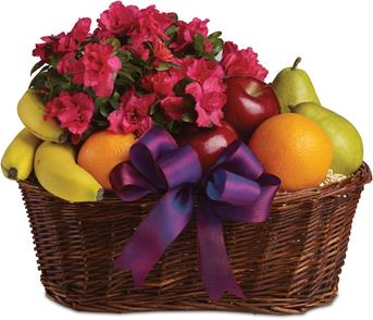 Called: Fruit and Blooms. Description: Here is a tasteful gift for any occasion. Fruit and a flowering plant, what could be better than that?
