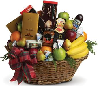 Called: Ultimate Christmas Basket. Description: Packed with fresh fruit, gourmet chocolates, soft cheeses, cabanossi, cookies, crackers...everything a foodie could hope for.