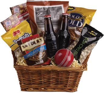 Called: Cricket Lover. Description: Peanuts, pistachios, pretzels, beer and even a cricket ball are teamed up in this nibbles basket. The perfect gift for the male in your family!
