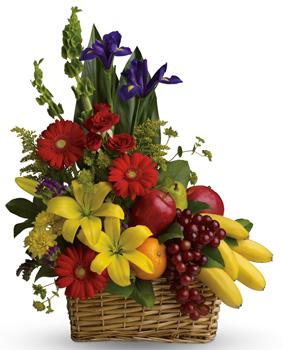 Called: Fruit Dreams. Description: A healthy gift for all the family! A fruit and flower combo of seasonal fruit and flowers.