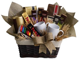Called: Cafe Latte. Description: When you want to send your thoughts in a grande way, send this basket filled with chocolate, tea and coffee. Nothing is grander.