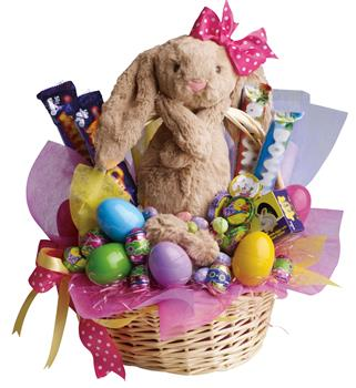 Called: Easter Basket. Description: Be the Easter Bunny for someone special with this Easter basket full of chocolates and plush toy.