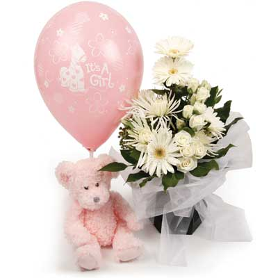 Called: Baby Girl air Balloon. Description: Celebrate the new bundle of joy with this beautiful gift.