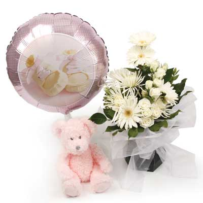 Called: Baby Girl Foil Balloon. Description: This gorgeous arrangement is the perfect way to celebrate the new arrival.