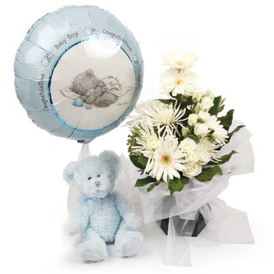 Called: Baby Boy Foil Balloon. Description: This gorgeous arrangement is the perfect way to celebrate the new arrival.