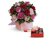 Blushing Roses with a box of Chocolates