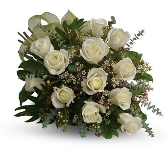 Called: Dreamy White Dozen. Description: This beautiful flower bouquet of dreamy white roses and graceful greens delivers innocence and elegance. Perfect for neighbours, corporate partners and events.