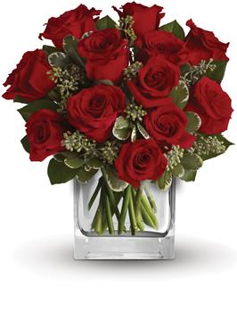 Called: True Romance. Description: Turn up the heat on a new romance or a lifelong love affair with this classic cube arrangement of one dozen red roses.