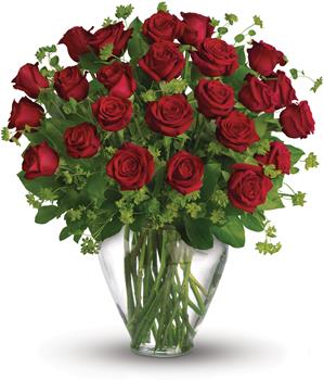 Called: My Perfect Love. Description: When it comes to delivering romance in a big way, two dozen gorgeous red roses hand arranged in a glass vase,are a brilliant choice.