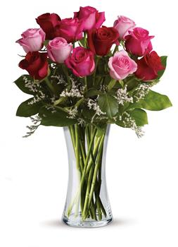 Called: I Love You. Description: Show them how you really feel with this impressive arrangement of red and pink roses! It is a grand gesture guaranteed to make them smile.