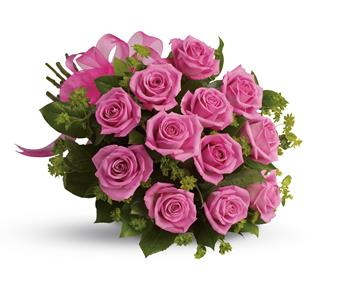 Called: Blushing Dozen. Description: Think of the thanks you will get when a bouquet of vibrant hot pink roses is delivered.