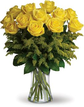 Called: Rosy Glow Dozen. Description: What a bright idea! Send a summery treat to someone special with this cheerful bouquet of one dozen yellow roses in complementing vase.