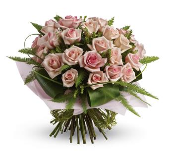 Called: Love You Bunches. Description: What a beautiful bunch! Punch up the romance with this lush,lovely bouquet of whisper-pink roses and delicate greenery.