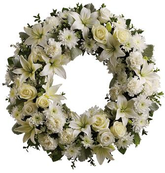 Called: Serenity. Description: A ring of fragrant, bright white blossoms will create a serene display at any service. This classic wreath is a thoughtful expression of sympathy and admiration.