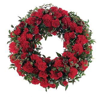 Called: Red Regards. Description: This simple, yet stylish wreath shows the depth of your love and support.