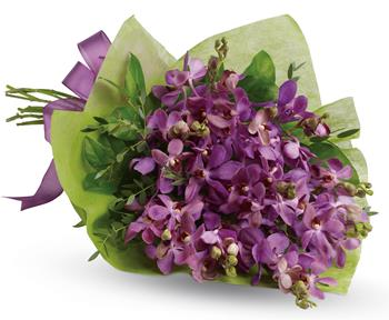 Called: Purple Perfection. Description: This eye-catching bouquet of lavender orchids is an eloquent expression of your affection.