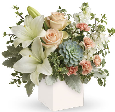 Called: Pedrika Sunrise. Description: Reminiscent of a desert sunrise, this modern mix of peach blooms, white lilies and succulents is a super chic statement.